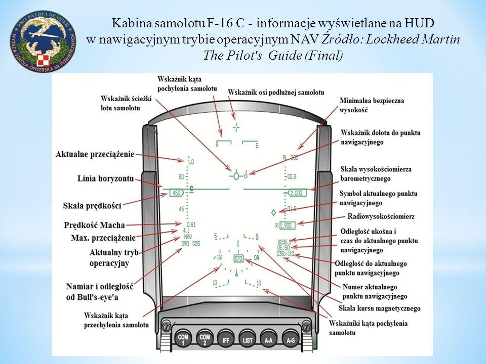 Kabina samolotu F-16 C - informacje wyświetlane na HUD w nawigacyjnym trybie operacyjnym NAV Źródło: Lockheed Martin The Pilot's Guide (Final)