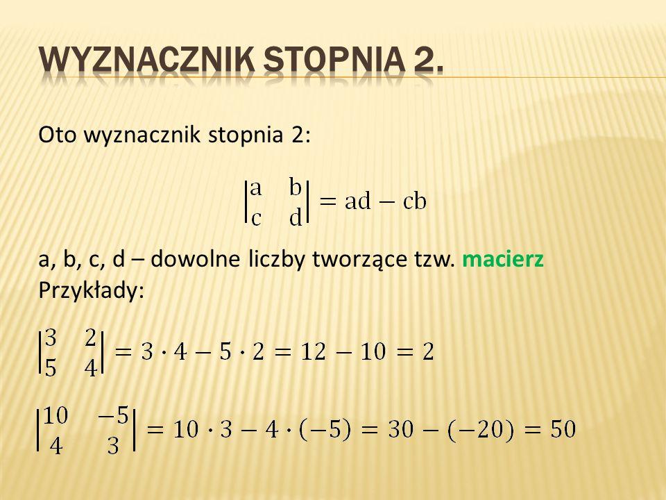 Oto wyznacznik stopnia 2: a, b, c, d – dowolne liczby tworzące tzw. macierz Przykłady: