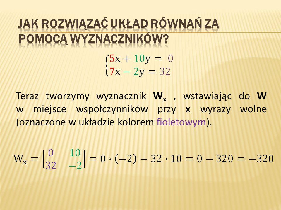 Teraz tworzymy wyznacznik W x, wstawiając do W w miejsce współczynników przy x wyrazy wolne (oznaczone w układzie kolorem fioletowym).