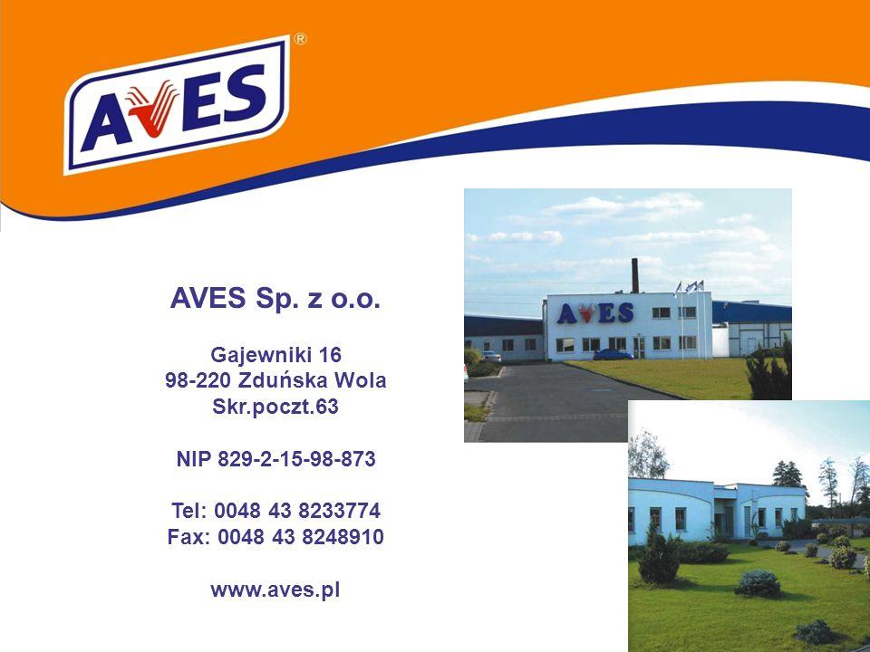 AVES Sp. z o.o. Gajewniki 16 98-220 Zduńska Wola Skr.poczt.63 NIP 829-2-15-98-873 Tel: 0048 43 8233774 Fax: 0048 43 8248910 www.aves.pl