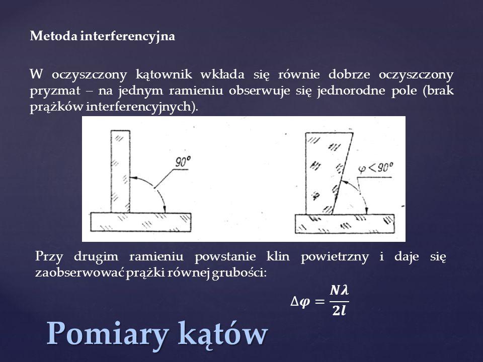 Pomiary kątów Metoda interferencyjna W oczyszczony kątownik wkłada się równie dobrze oczyszczony pryzmat – na jednym ramieniu obserwuje się jednorodne