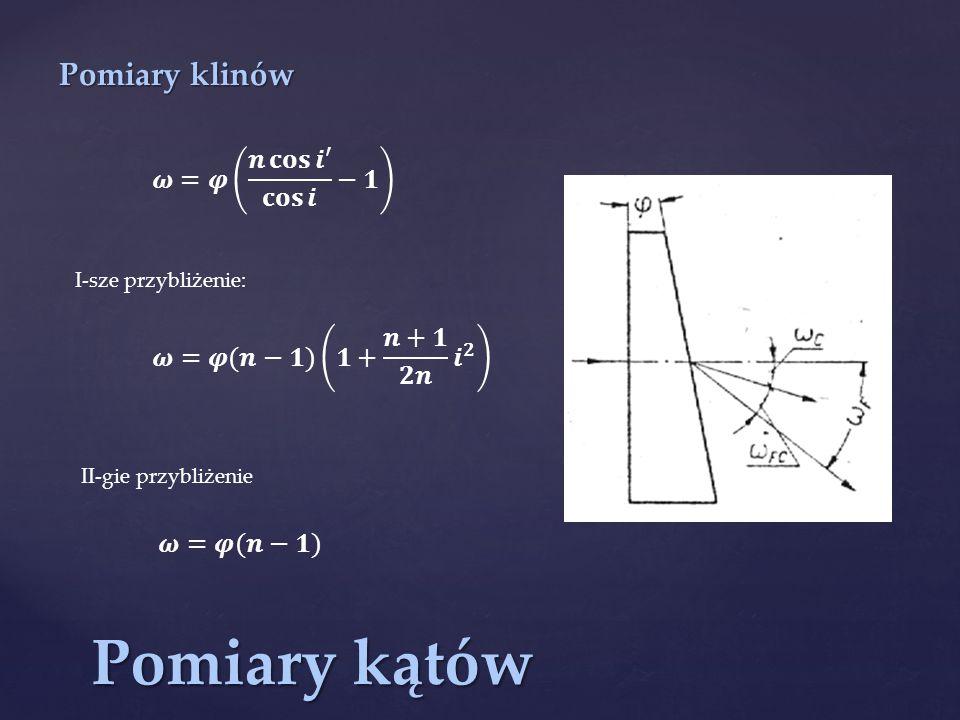 Pomiary kątów Pomiary klinów I-sze przybliżenie: II-gie przybliżenie