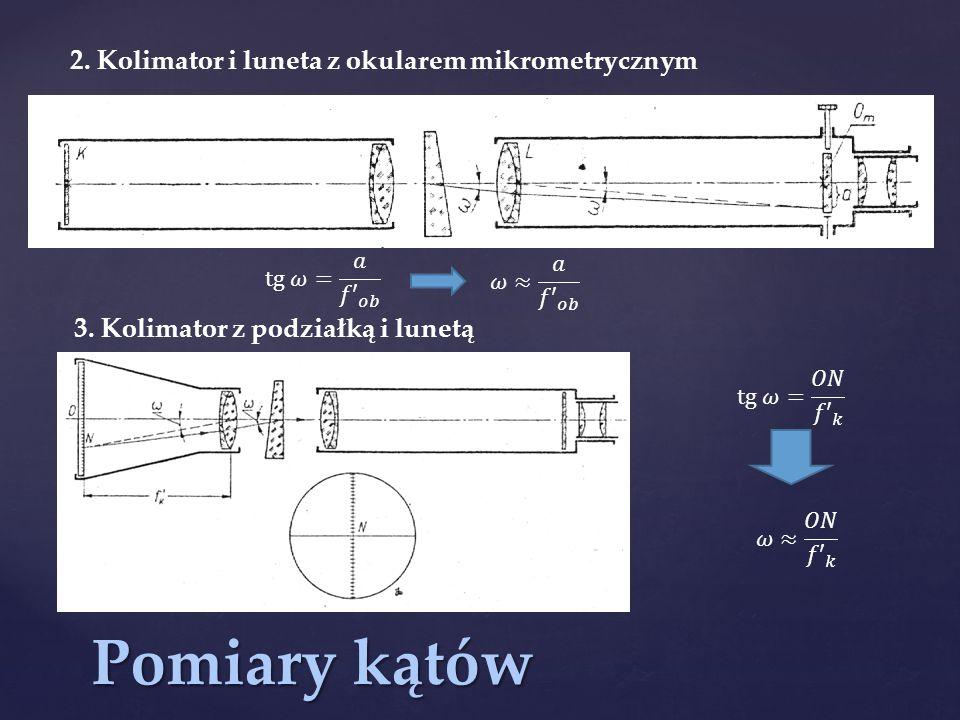 Pomiary kątów 2. Kolimator i luneta z okularem mikrometrycznym 3. Kolimator z podziałką i lunetą