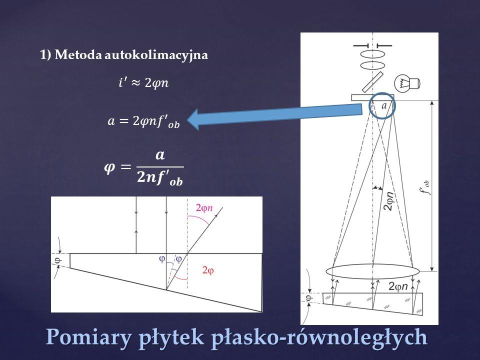 Pomiary płytek płasko-równoległych 1) Metoda autokolimacyjna