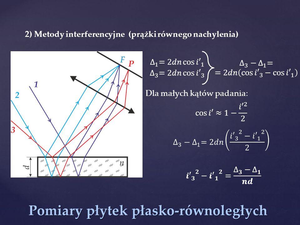 Pomiary płytek płasko-równoległych 2) Metody interferencyjne (prążki równego nachylenia) Dla małych kątów padania: