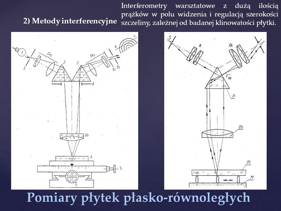 Pomiary płytek płasko-równoległych 2) Metody interferencyjne Interferometry warsztatowe z dużą ilością prążków w polu widzenia i regulacją szerokości