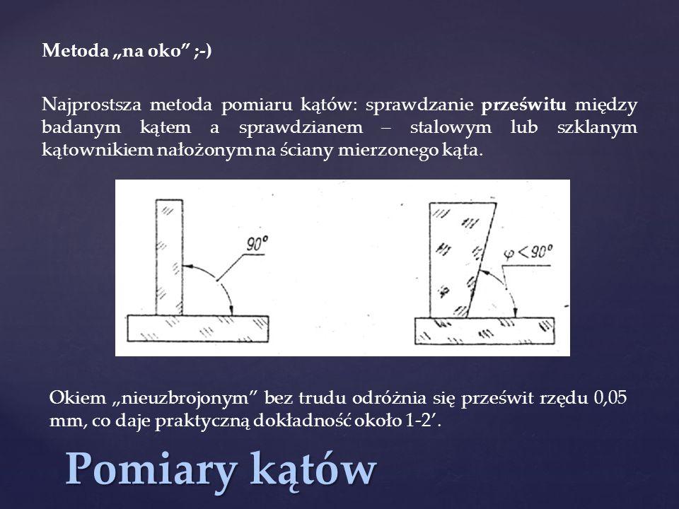 """Pomiary kątów Metoda """"na oko"""" ;-) Najprostsza metoda pomiaru kątów: sprawdzanie prześwitu między badanym kątem a sprawdzianem – stalowym lub szklanym"""