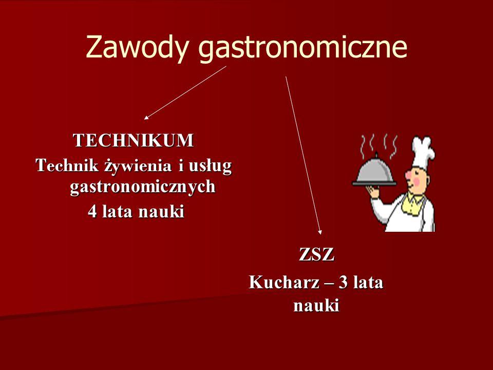 Zawody gastronomiczne TECHNIKUM Technik ż ywienia i usług gastronomicznych 4 lata nauki 4 lata nauki ZSZ Kucharz – 3 lata nauki