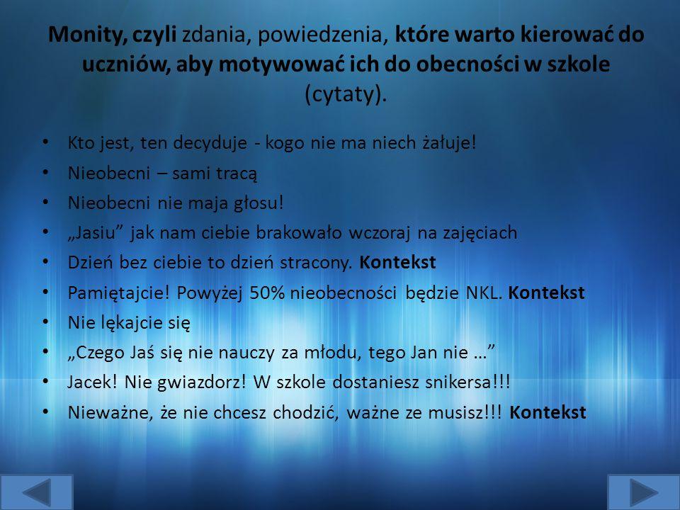Monity, czyli zdania, powiedzenia, które warto kierować do uczniów, aby motywować ich do obecności w szkole (cytaty).