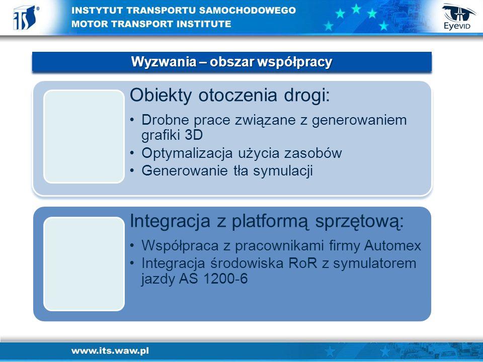 Obiekty otoczenia drogi: Drobne prace związane z generowaniem grafiki 3DDrobne prace związane z generowaniem grafiki 3D Optymalizacja użycia zasobówOptymalizacja użycia zasobów Generowanie tła symulacjiGenerowanie tła symulacji Integracja z platformą sprzętową: Współpraca z pracownikami firmy AutomexWspółpraca z pracownikami firmy Automex Integracja środowiska RoR z symulatorem jazdy AS 1200-6Integracja środowiska RoR z symulatorem jazdy AS 1200-6 Wyzwania – obszar współpracy