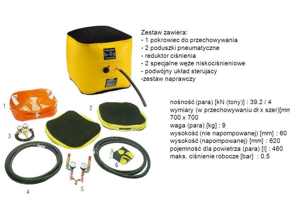Zestaw zawiera: - 1 pokrowiec do przechowywania - 2 poduszki pneumatyczne - reduktor ciśnienia - 2 specjalne węże niskociśnieniowe - podwójny układ st