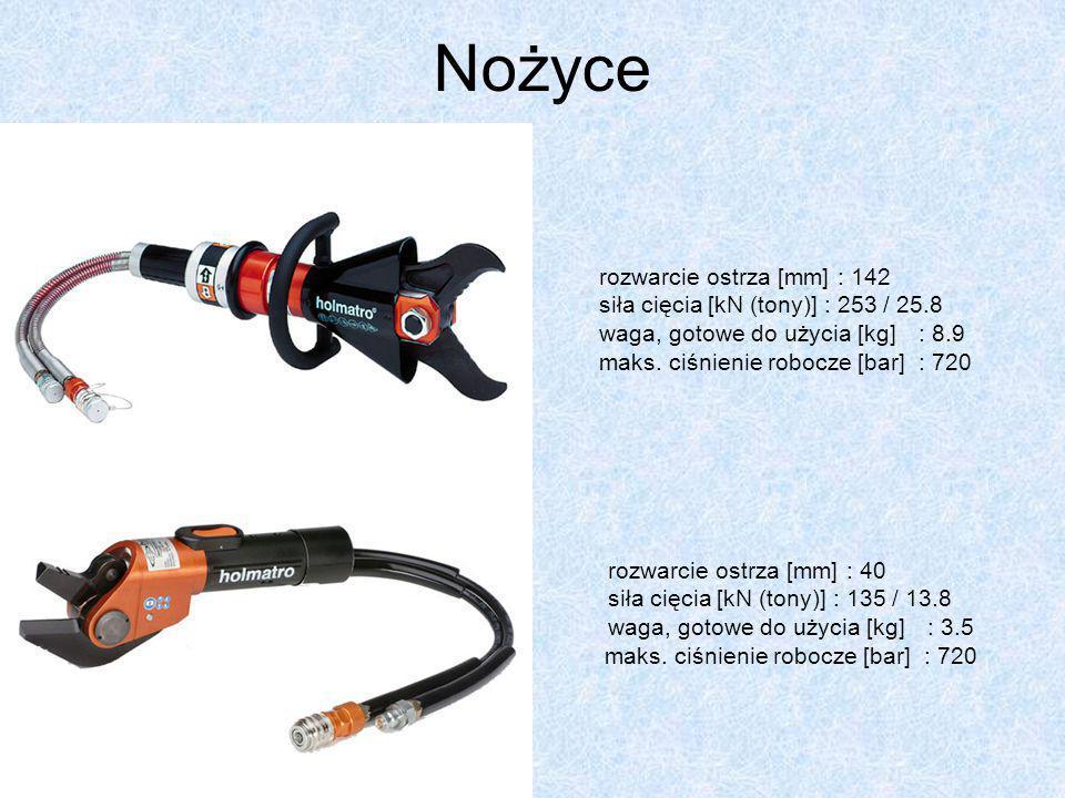 Nożyce rozwarcie ostrza [mm] : 142 siła cięcia [kN (tony)] : 253 / 25.8 waga, gotowe do użycia [kg] : 8.9 maks. ciśnienie robocze [bar] : 720 rozwarci