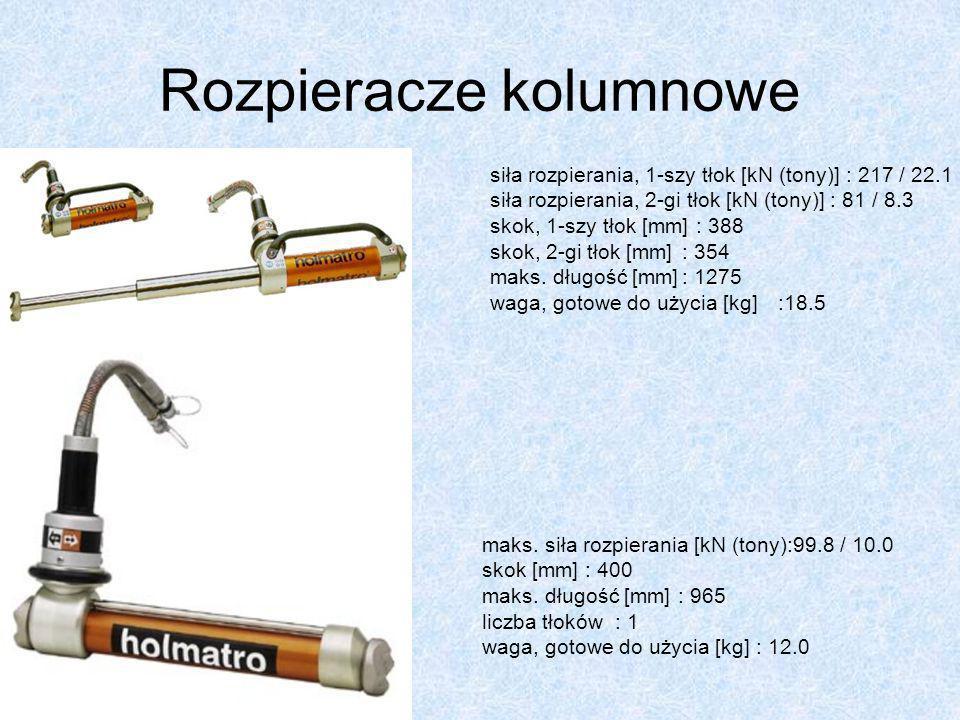 Rozpieracze kolumnowe siła rozpierania, 1-szy tłok [kN (tony)] : 217 / 22.1 siła rozpierania, 2-gi tłok [kN (tony)] : 81 / 8.3 skok, 1-szy tłok [mm] :
