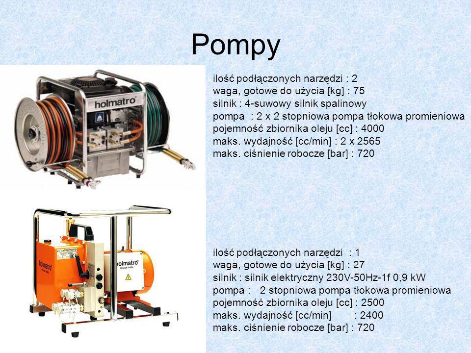 Pompy ilość podłączonych narzędzi : 1 waga, gotowe do użycia [kg] : 27 silnik : silnik elektryczny 230V-50Hz-1f 0,9 kW pompa : 2 stopniowa pompa tłoko