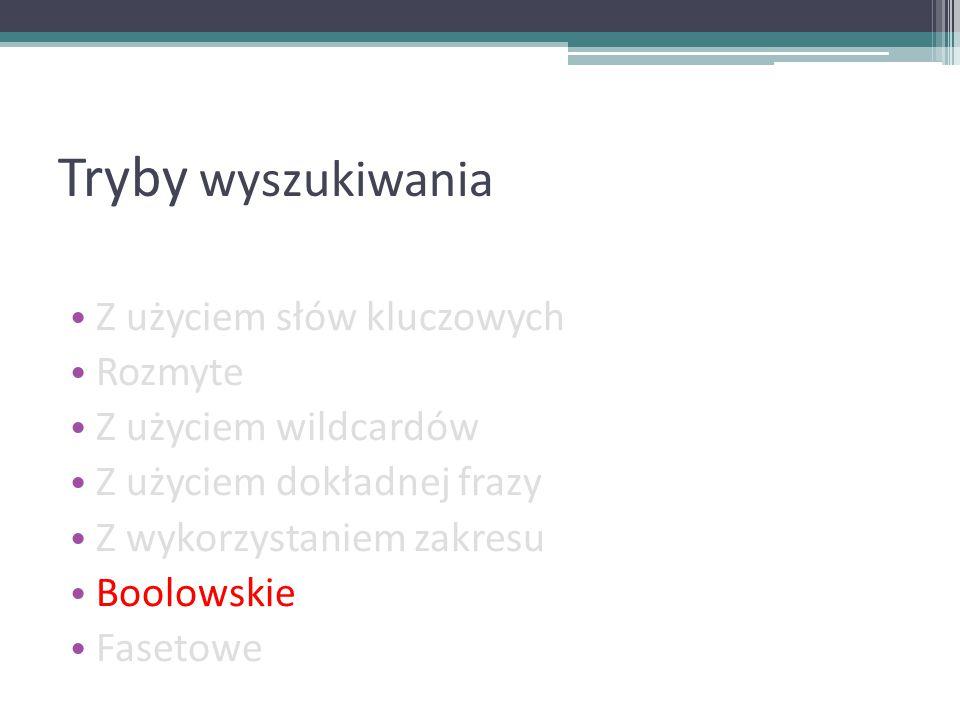 Tryby wyszukiwania Z użyciem słów kluczowych Rozmyte Z użyciem wildcardów Z użyciem dokładnej frazy Z wykorzystaniem zakresu Boolowskie Fasetowe
