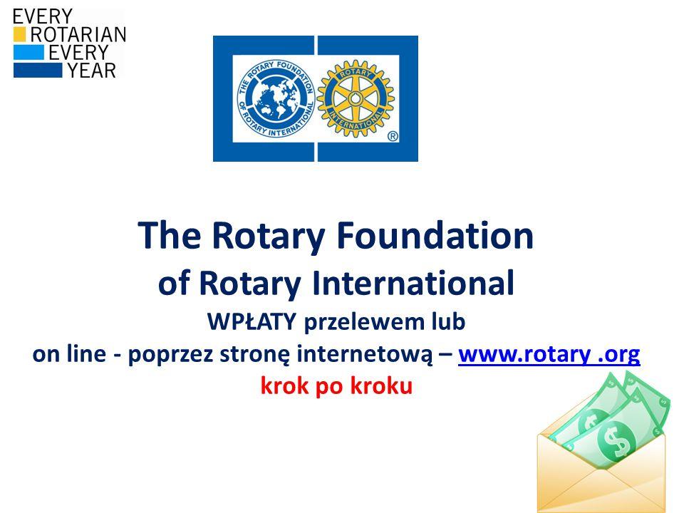 The Rotary Foundation of Rotary International WPŁATY przelewem lub on line - poprzez stronę internetową – www.rotary.org krok po krokuwww.rotary.org
