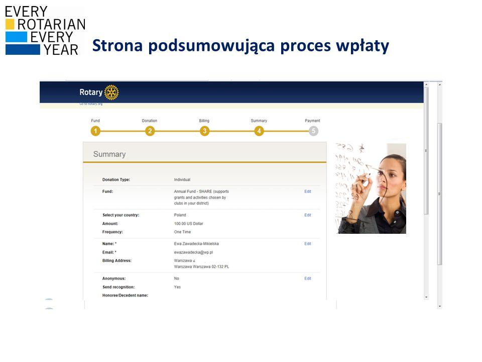Strona podsumowująca proces wpłaty