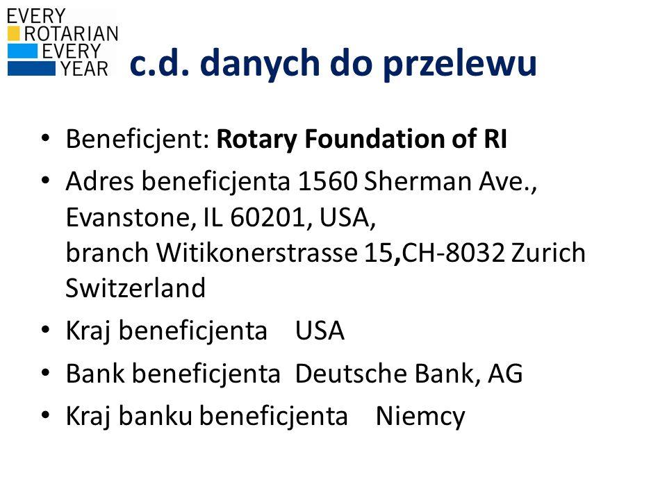 c.d. danych do przelewu Beneficjent: Rotary Foundation of RI Adres beneficjenta 1560 Sherman Ave., Evanstone, IL 60201, USA, branch Witikonerstrasse 1