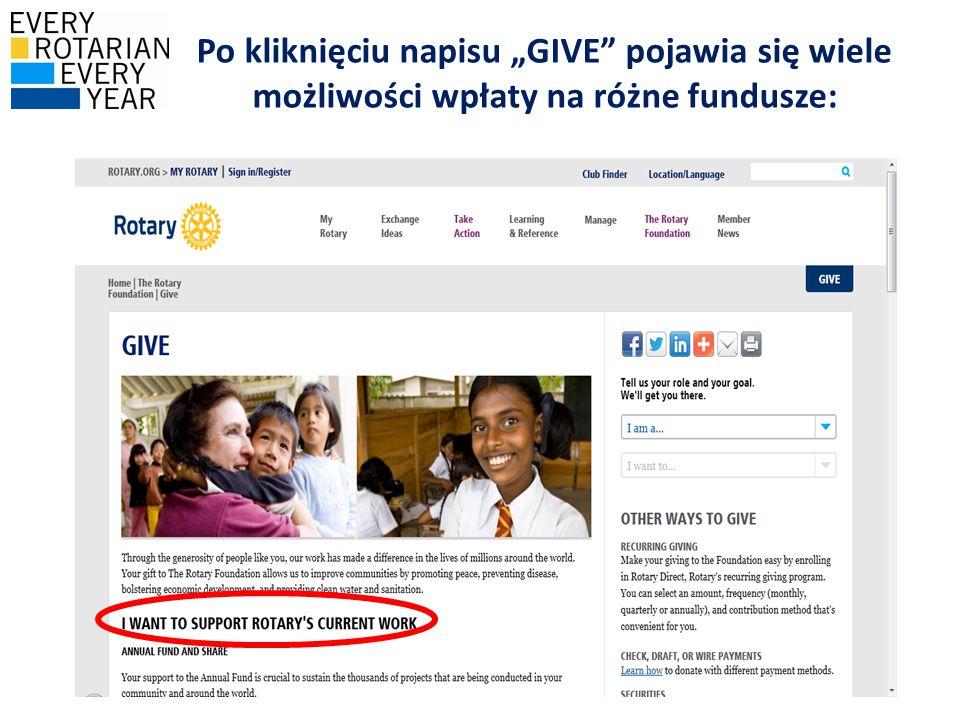 """Po kliknięciu napisu """"GIVE"""" pojawia się wiele możliwości wpłaty na różne fundusze:"""