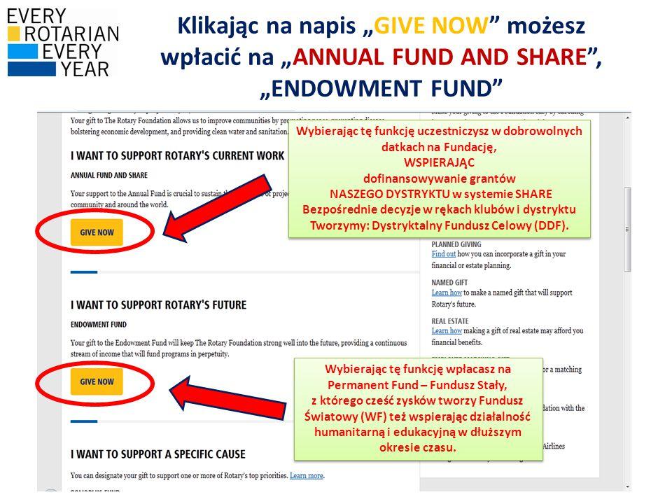 """Klikając na napis """"GIVE NOW możesz wpłacić na """"ANNUAL FUND AND SHARE , """"ENDOWMENT FUND Wybierając tę funkcję uczestniczysz w dobrowolnych datkach na Fundację, WSPIERAJĄC dofinansowywanie grantów NASZEGO DYSTRYKTU w systemie SHARE Bezpośrednie decyzje w rękach klubów i dystryktu Tworzymy: Dystryktalny Fundusz Celowy (DDF)."""