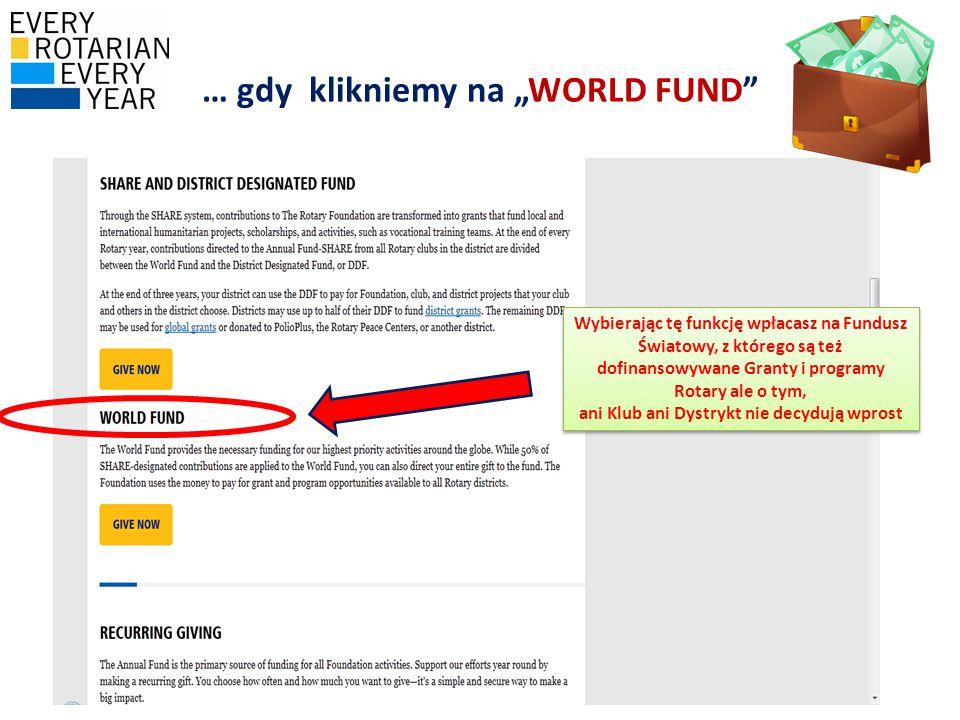 """… gdy klikniemy na """"WORLD FUND Wybierając tę funkcję wpłacasz na Fundusz Światowy, z którego są też dofinansowywane Granty i programy Rotary ale o tym, ani Klub ani Dystrykt nie decydują wprost"""