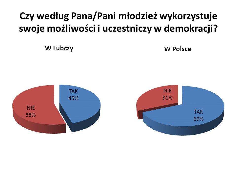 Czy według Pana/Pani młodzież wykorzystuje swoje możliwości i uczestniczy w demokracji