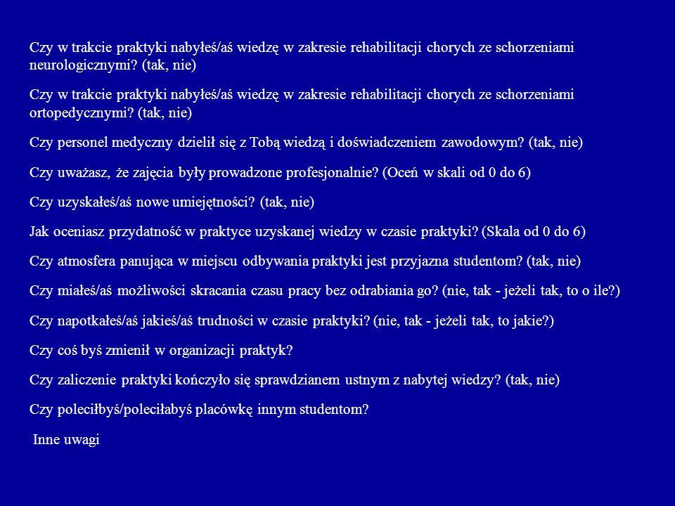 Czy w trakcie praktyki nabyłeś/aś wiedzę w zakresie rehabilitacji chorych ze schorzeniami neurologicznymi.