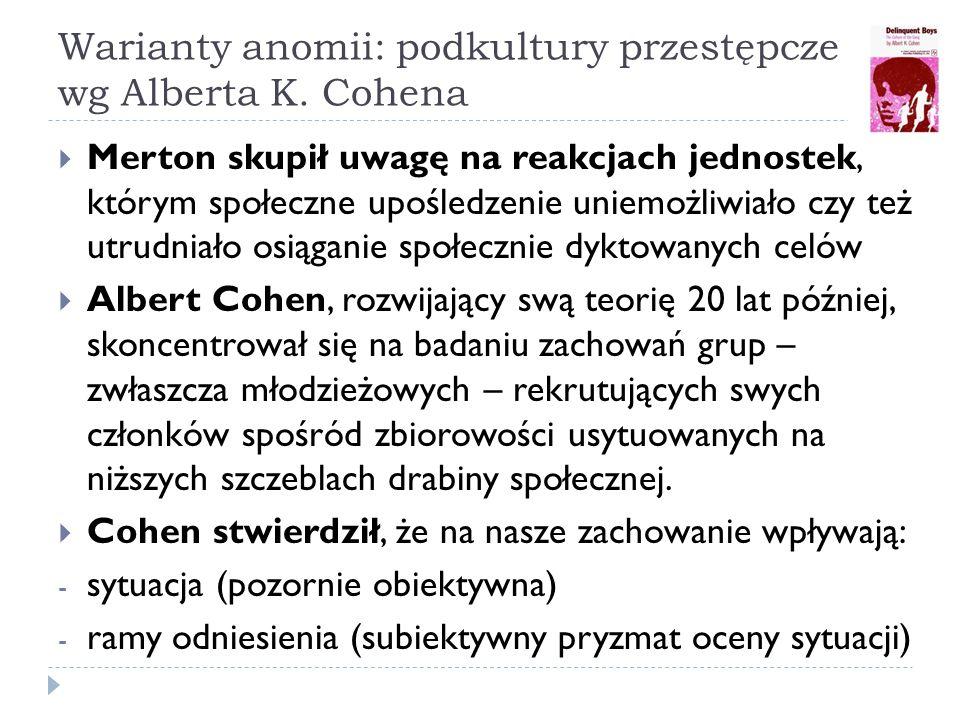 Warianty anomii: podkultury przestępcze wg Alberta K.