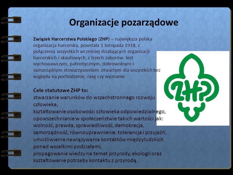 Organizacje pozarządowe Związek Harcerstwa Polskiego (ZHP) – największa polska organizacja harcerska, powstała 1 listopada 1918, z połączenia wszystki
