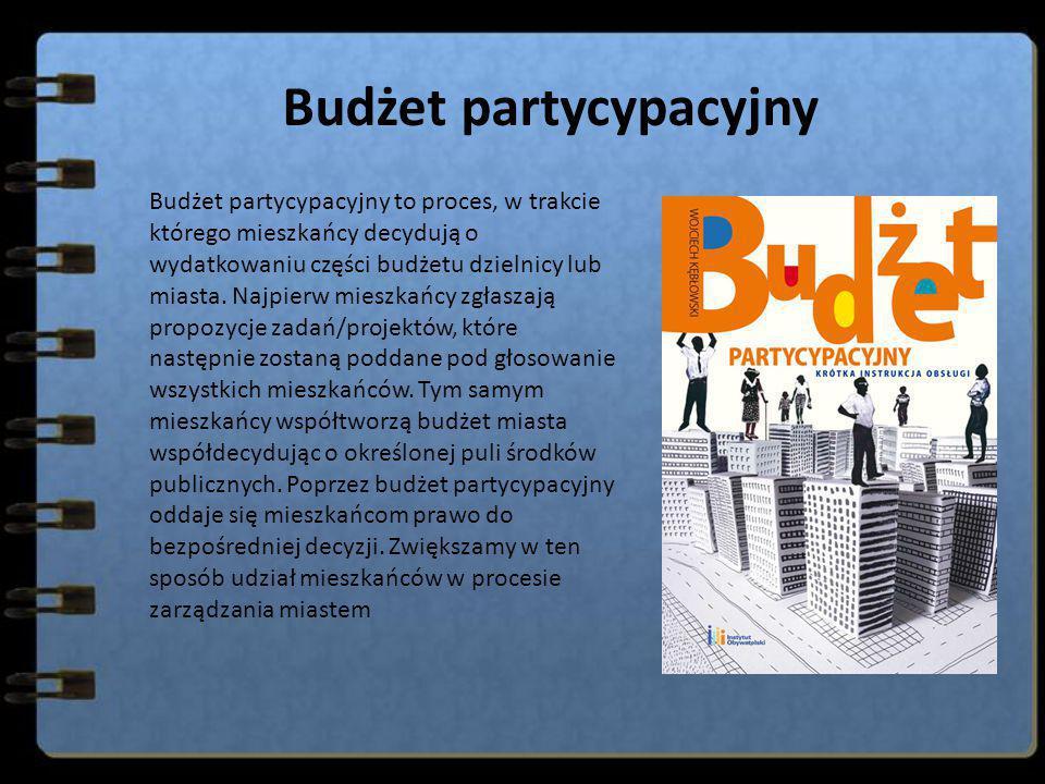 Budżet partycypacyjny Budżet partycypacyjny to proces, w trakcie którego mieszkańcy decydują o wydatkowaniu części budżetu dzielnicy lub miasta. Najpi