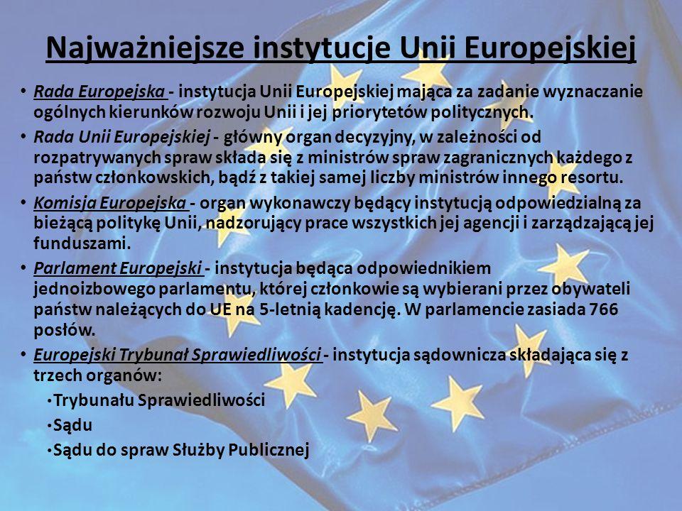 Najważniejsze instytucje Unii Europejskiej Rada Europejska - instytucja Unii Europejskiej mająca za zadanie wyznaczanie ogólnych kierunków rozwoju Uni
