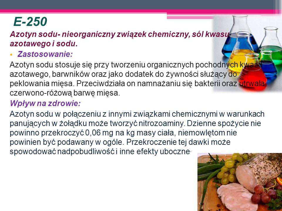 Azotyn sodu- nieorganiczny związek chemiczny, sól kwasu azotawego i sodu. Zastosowanie: Azotyn sodu stosuje się przy tworzeniu organicznych pochodnych
