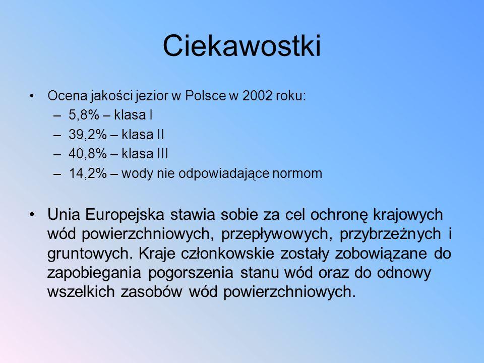 Ciekawostki Ocena jakości jezior w Polsce w 2002 roku: –5,8% – klasa I –39,2% – klasa II –40,8% – klasa III –14,2% – wody nie odpowiadające normom Uni
