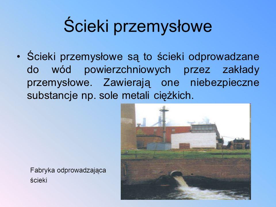 Ścieki przemysłowe Ścieki przemysłowe są to ścieki odprowadzane do wód powierzchniowych przez zakłady przemysłowe. Zawierają one niebezpieczne substan