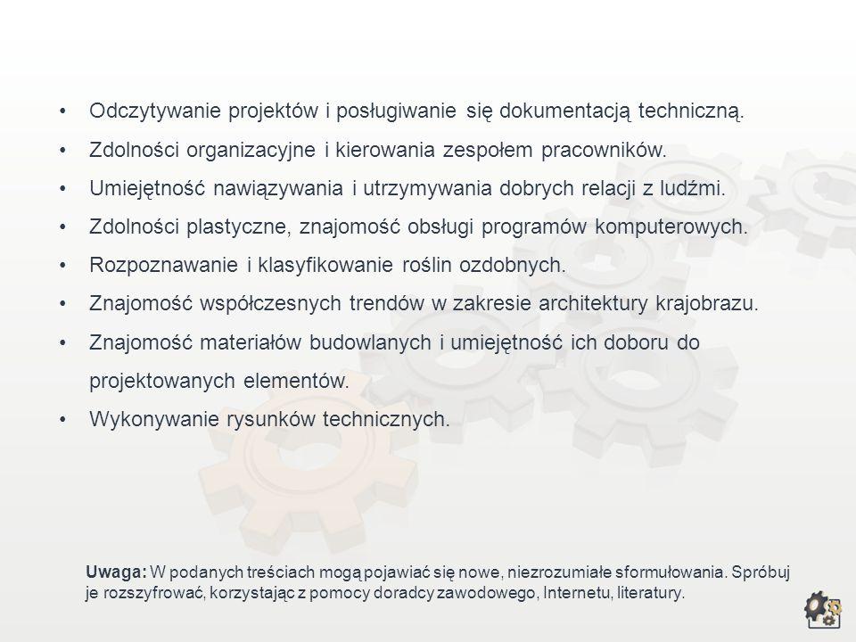 Odczytywanie projektów i posługiwanie się dokumentacją techniczną.