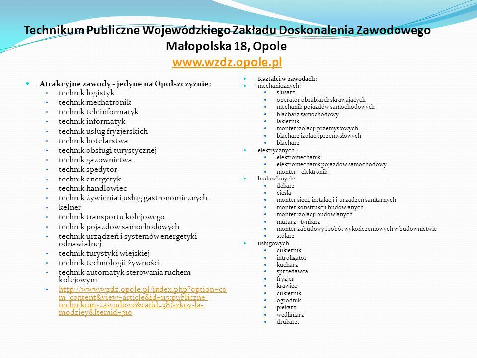Technikum Publiczne Wojewódzkiego Zakładu Doskonalenia Zawodowego Małopolska 18, Opole  www.wzdz.opole.pl www.wzdz.opole.pl Atrakcyjne zawody - jedyn