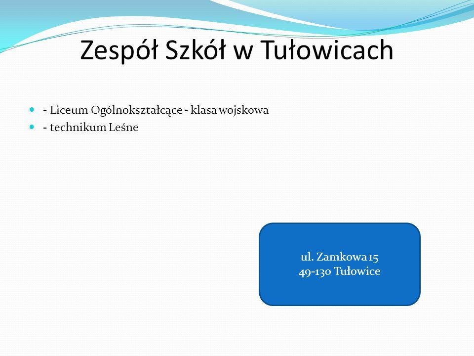 Zespół Szkół w Tułowicach - Liceum Ogólnokształcące - klasa wojskowa - technikum Leśne ul. Zamkowa 15 49-130 Tułowice