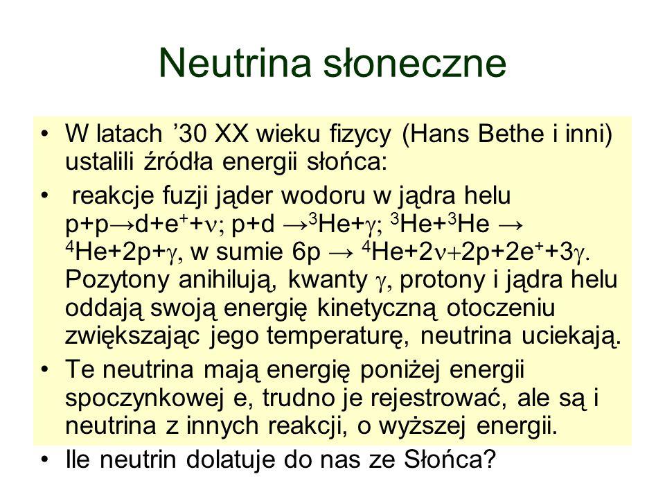 Neutrina słoneczne W latach '30 XX wieku fizycy (Hans Bethe i inni) ustalili źródła energii słońca: reakcje fuzji jąder wodoru w jądra helu p+p→d+e + +  p+d → 3 He+  3 He+ 3 He → 4 He+2p+  w sumie 6p → 4 He+2  2p+2e + +3  Pozytony anihilują, kwanty  protony i jądra helu oddają swoją energię kinetyczną otoczeniu zwiększając jego temperaturę, neutrina uciekają.