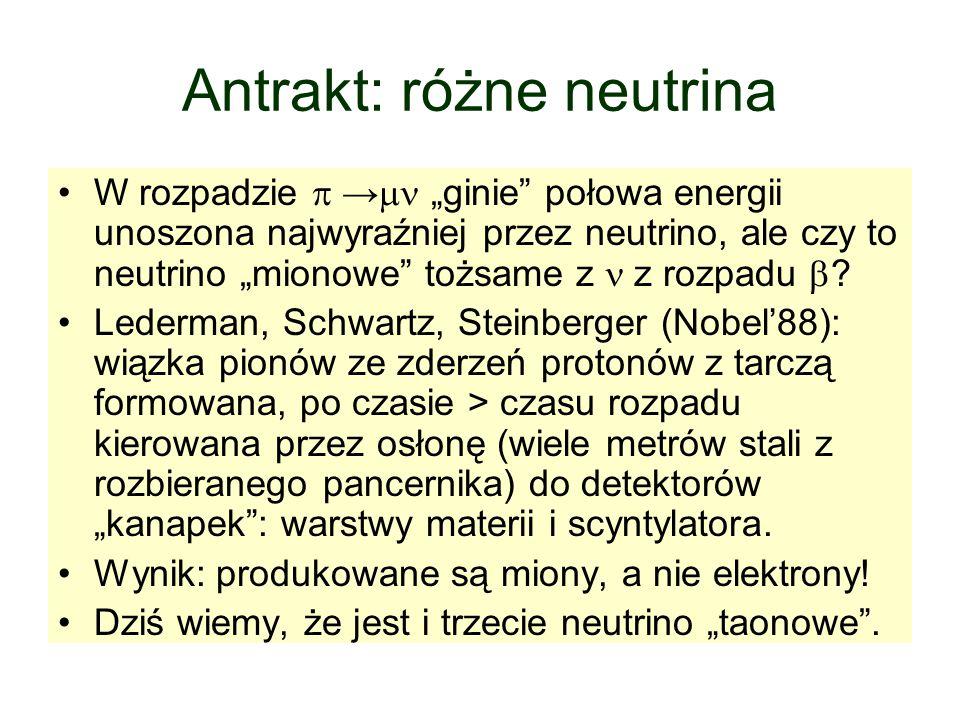 """Antrakt: różne neutrina W rozpadzie  →  """"ginie połowa energii unoszona najwyraźniej przez neutrino, ale czy to neutrino """"mionowe tożsame z  z rozpadu  ."""