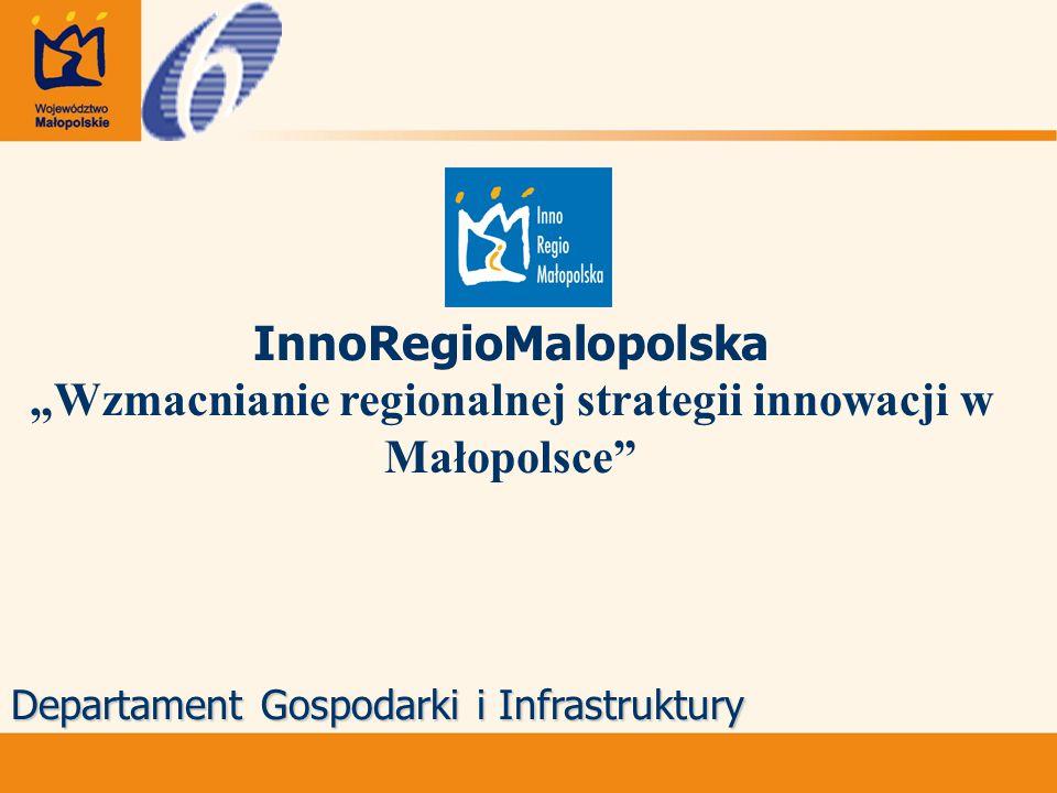 """InnoRegioMalopolska """"Wzmacnianie regionalnej strategii innowacji w Małopolsce Departament Gospodarki i Infrastruktury"""