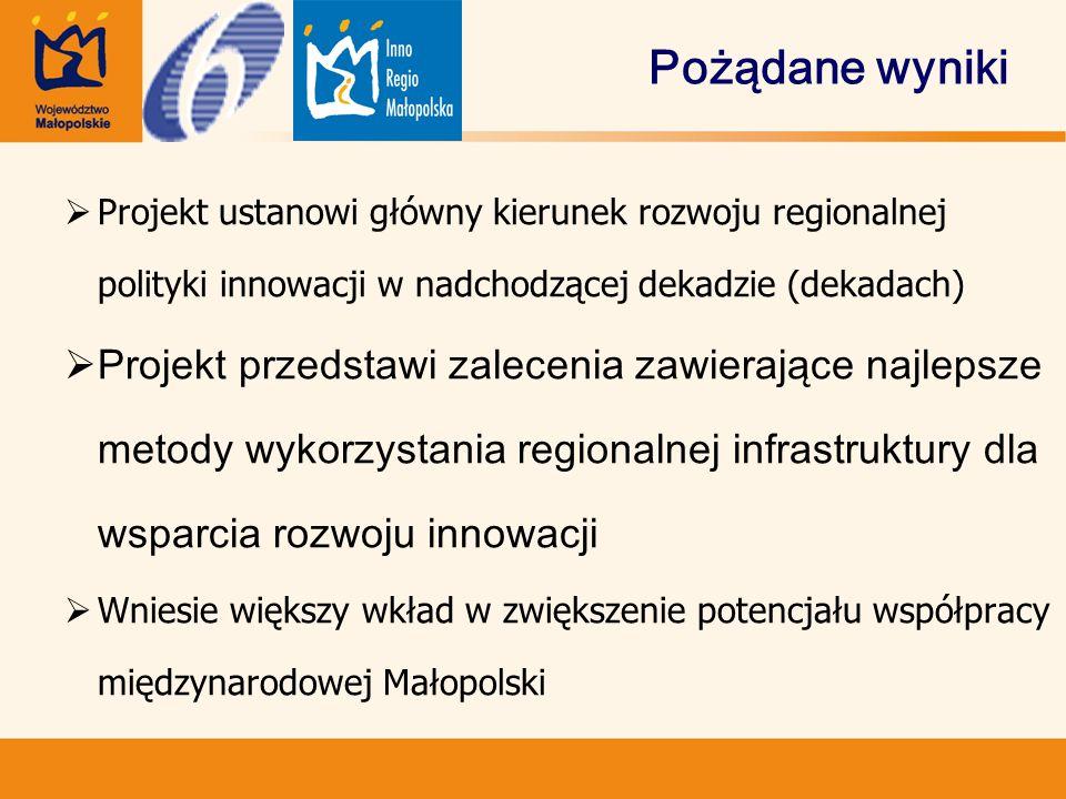 Pożądane wyniki  Projekt ustanowi główny kierunek rozwoju regionalnej polityki innowacji w nadchodzącej dekadzie (dekadach)  Projekt przedstawi zalecenia zawierające najlepsze metody wykorzystania regionalnej infrastruktury dla wsparcia rozwoju innowacji  Wniesie większy wkład w zwiększenie potencjału współpracy międzynarodowej Małopolski