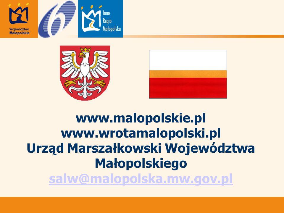 www.malopolskie.pl www.wrotamalopolski.pl Urząd Marszałkowski Województwa Małopolskiego salw@malopolska.mw.gov.pl salw@malopolska.mw.gov.pl