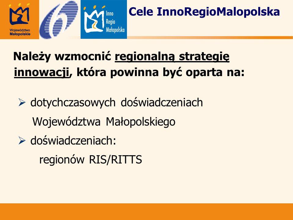 Cele InnoRegioMalopolska Należy wzmocnić regionalną strategię innowacji, która powinna być oparta na:  dotychczasowych doświadczeniach Województwa Małopolskiego  doświadczeniach: regionów RIS/RITTS
