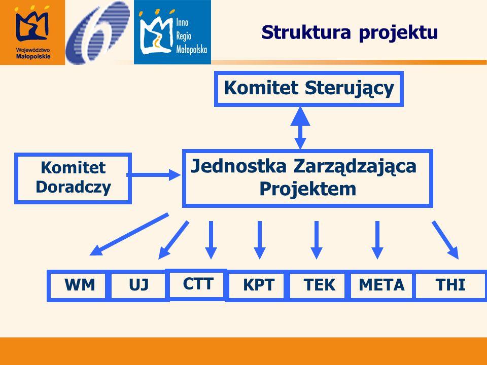 Struktura projektu Komitet Doradczy Jednostka Zarządzająca Projektem UJ CTT KPT TEKMETATHI WM Komitet Sterujący