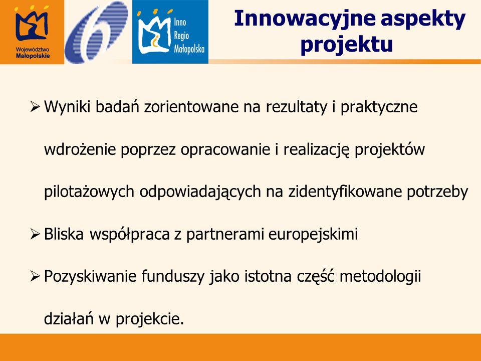 Innowacyjne aspekty projektu  Wyniki badań zorientowane na rezultaty i praktyczne wdrożenie poprzez opracowanie i realizację projektów pilotażowych odpowiadających na zidentyfikowane potrzeby  Bliska współpraca z partnerami europejskimi  Pozyskiwanie funduszy jako istotna część metodologii działań w projekcie.