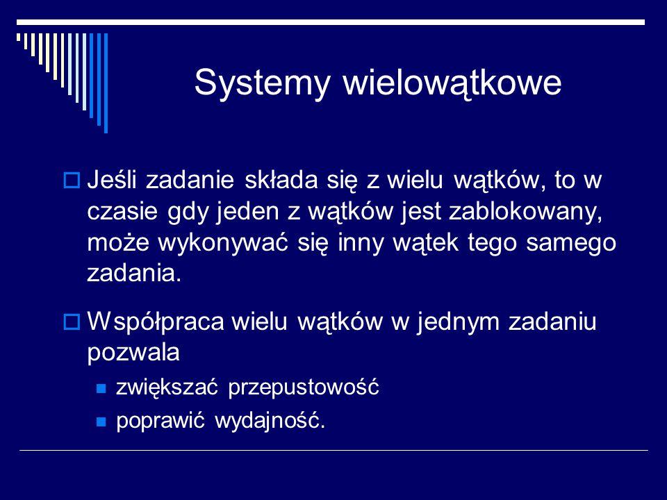 Systemy wielowątkowe  Jeśli zadanie składa się z wielu wątków, to w czasie gdy jeden z wątków jest zablokowany, może wykonywać się inny wątek tego sa