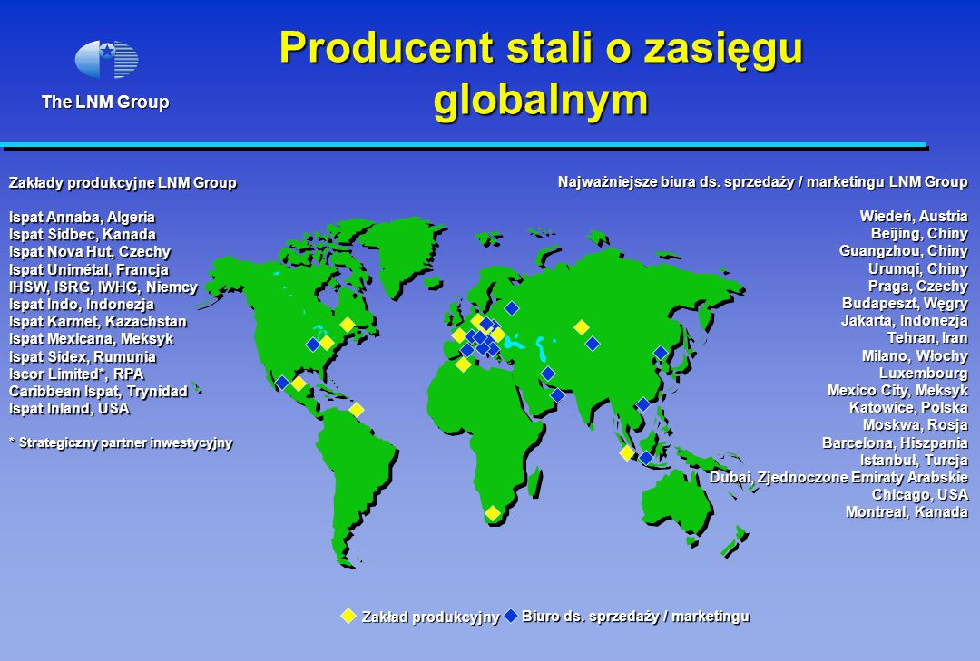 The LNM Group Producent stali o zasięgu globalnym Zakłady produkcyjne LNM Group Ispat Annaba, Algeria Ispat Sidbec, Kanada Ispat Nova Hut, Czechy Ispat Unimétal, Francja IHSW, ISRG, IWHG, Niemcy Ispat Indo, Indonezja Ispat Karmet, Kazachstan Ispat Mexicana, Meksyk Ispat Sidex, Rumunia Iscor Limited*, RPA Caribbean Ispat, Trynidad Ispat Inland, USA * Strategiczny partner inwestycyjny Zakład produkcyjny Biuro ds.