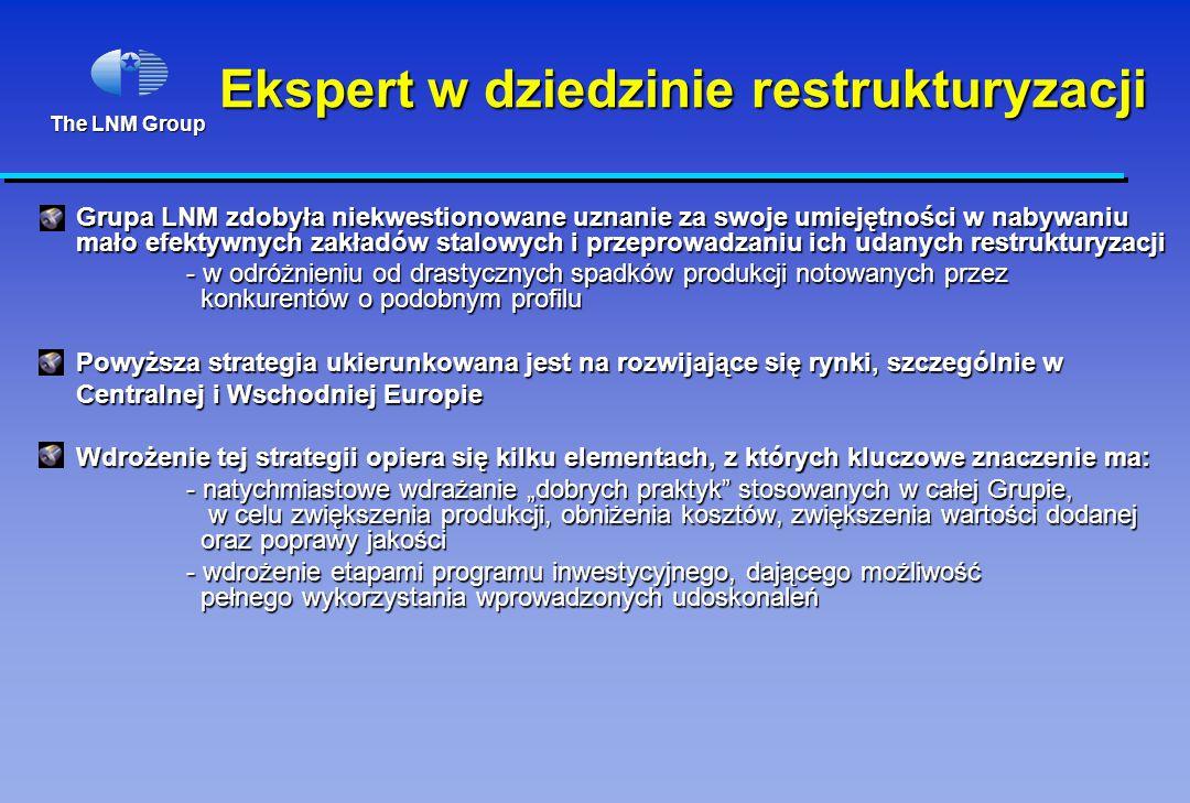 """The LNM Group Ekspert w dziedzinie restrukturyzacji Grupa LNM zdobyła niekwestionowane uznanie za swoje umiejętności w nabywaniu mało efektywnych zakładów stalowych i przeprowadzaniu ich udanych restrukturyzacji - w odróżnieniu od drastycznych spadków produkcji notowanych przez konkurentów o podobnym profilu Powyższa strategia ukierunkowana jest na rozwijające się rynki, szczególnie w Centralnej i Wschodniej Europie Wdrożenie tej strategii opiera się kilku elementach, z których kluczowe znaczenie ma: - natychmiastowe wdrażanie """"dobrych praktyk stosowanych w całej Grupie, w celu zwiększenia produkcji, obniżenia kosztów, zwiększenia wartości dodanej oraz poprawy jakości - natychmiastowe wdrażanie """"dobrych praktyk stosowanych w całej Grupie, w celu zwiększenia produkcji, obniżenia kosztów, zwiększenia wartości dodanej oraz poprawy jakości - wdrożenie etapami programu inwestycyjnego, dającego możliwość pełnego wykorzystania wprowadzonych udoskonaleń - wdrożenie etapami programu inwestycyjnego, dającego możliwość pełnego wykorzystania wprowadzonych udoskonaleń"""