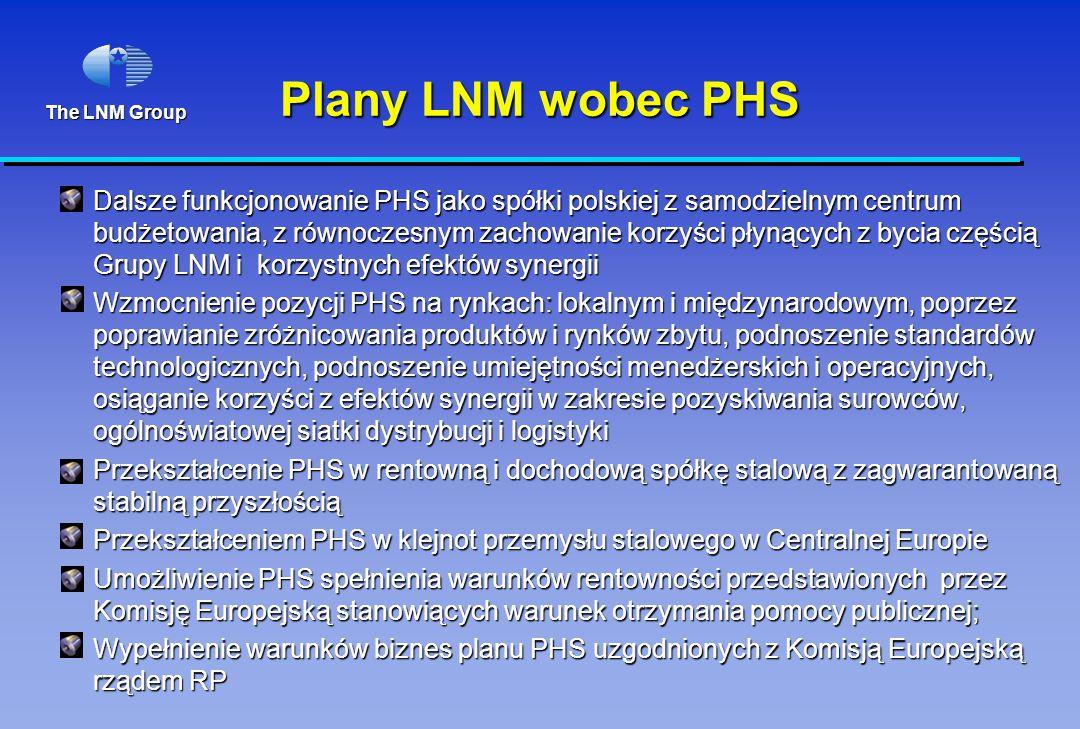 The LNM Group Plany LNM wobec PHS Dalsze funkcjonowanie PHS jako spółki polskiej z samodzielnym centrum budżetowania, z równoczesnym zachowanie korzyś