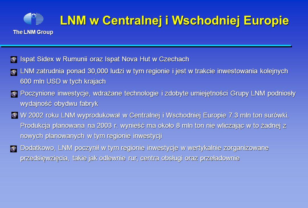 The LNM Group LNM w Centralnej i Wschodniej Europie Ispat Sidex w Rumunii oraz Ispat Nova Hut w Czechach LNM zatrudnia ponad 30,000 ludzi w tym regionie i jest w trakcie inwestowania kolejnych 600 mln USD w tych krajach Poczynione inwestycje, wdrażane technologie i zdobyte umiejętności Grupy LNM podniosły wydajność obydwu fabryk W 2002 roku LNM wyprodukował w Centralnej i Wschodniej Europie 7.3 mln ton surówki.